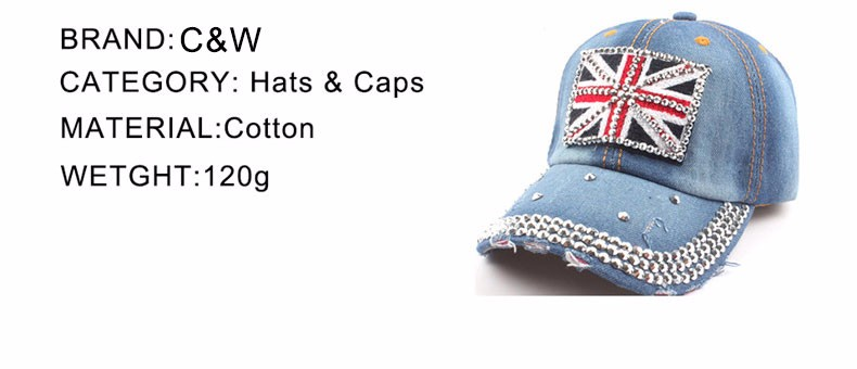 2016 New arrival fashion Union Jack pattern women cowboy washed letter denim baseball caps Adjustable