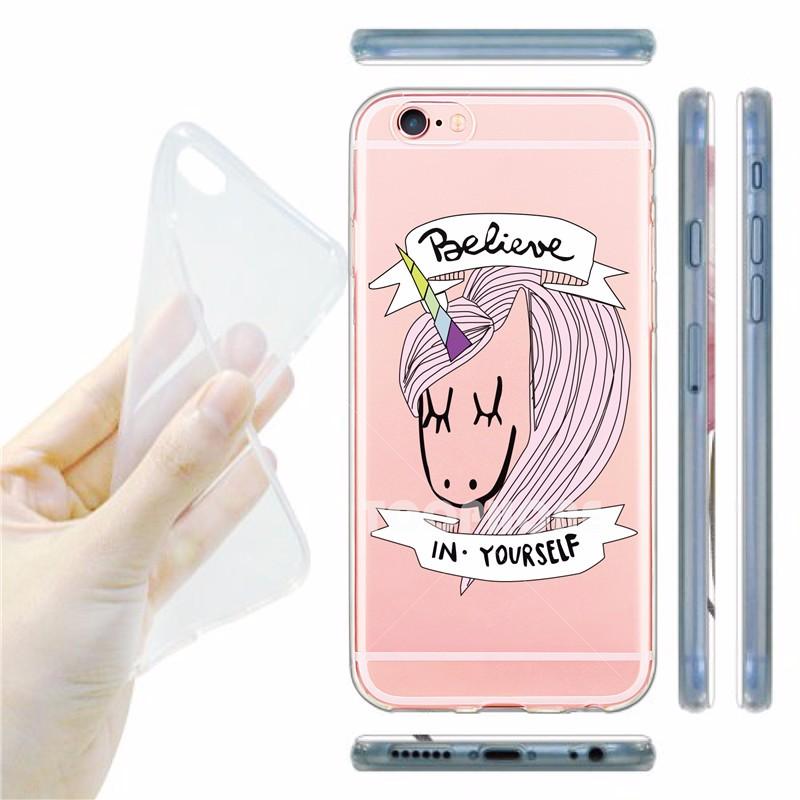 Cute Unique Unicorn Cartoon Transparent Ultra Thin Flexible Soft Silicone Phone Case Back Cover For Apple iPhone 5S 6 6S 7 6Plus