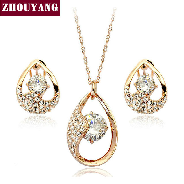 Top Quality ZYS050 Crystal Tears 18K Gold Plated Jewelry Nicklace Earring Set Rhinestone Made with Austrian  Crystal Health