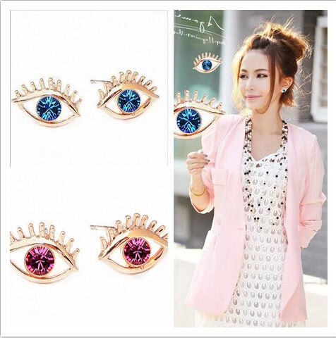2015 New Arrival Fashion Blue Evil Eye Earrings Best Price Wholesale Free shipping 1 Pair New Style(China (Mainland))