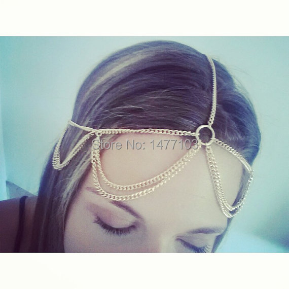 Latest Trendy Gold Silver Tassel Head Chain Headdress Hairband Head Pieces Hair Jewelry Accessary Gift for Women(China (Mainland))