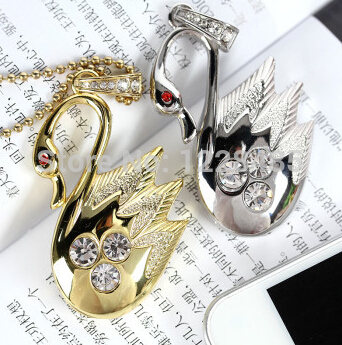 hot sale real capacity jewellery crystal swan necklace usb flash drive 4gb 8gb 16gb 32gb memory disk stick drive pendrive S352(China (Mainland))