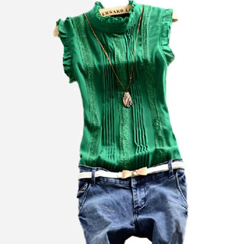 2015 Large Size Women Blouses Solid Sleeveless O-neck Green White Red Ladies Blouse &Shirt Women clothing Blusa Feminina LQ8144D(China (Mainland))