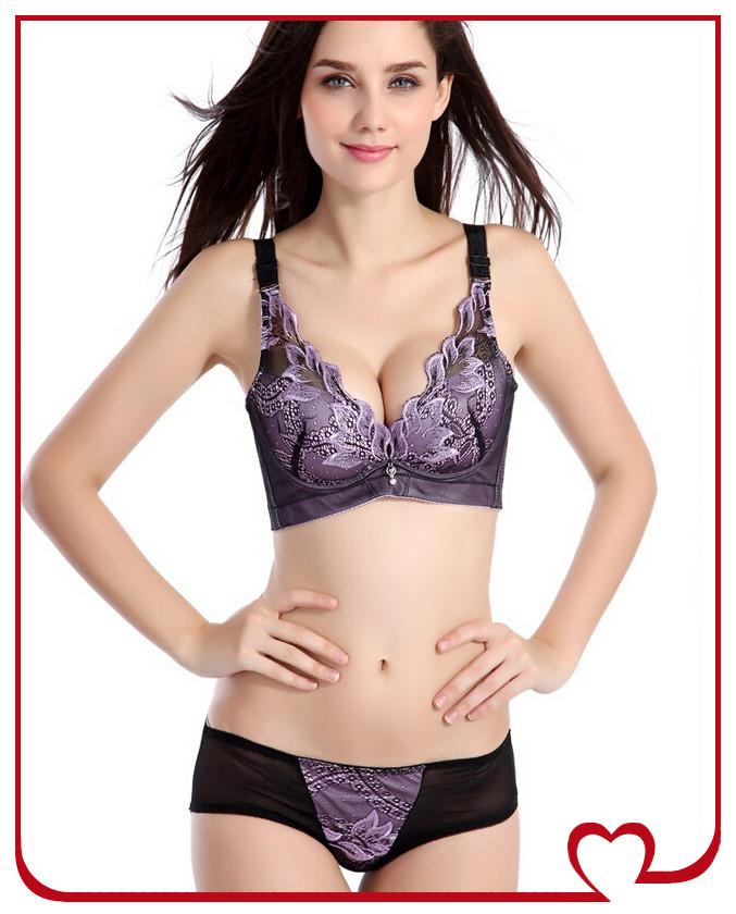 Besar ladies bra &brief set fashion high quality brand Embroidery bras sexy underwear panties push up bra 2015 newest brief(China (Mainland))