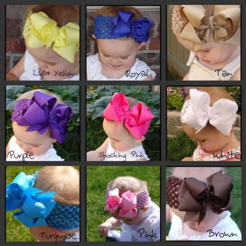 1pc 5-5.5inch double large kids infant baby girls hair elastic bands ribbon bows tiara headbands satin flower hairband headwrap(China (Mainland))