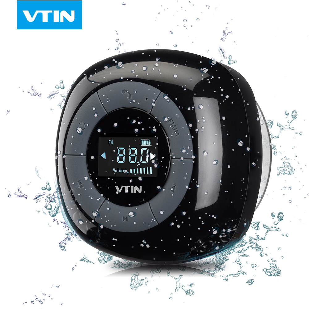 VTIN MINI Portable wireless bluetooth speaker FM radio bluetooth 4.0 LCD screen build in Microphone waterproof shower speaker(China (Mainland))