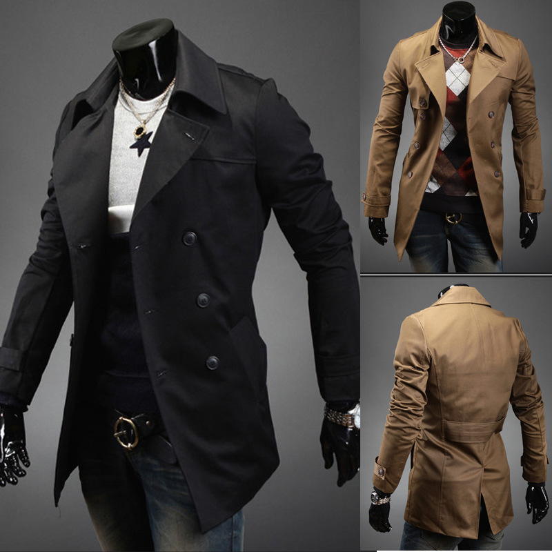 Khaki black beige black double breasted mens trench coats man long coat men clothes slim fit cotton overcoat men plus size XXL(China (Mainland))