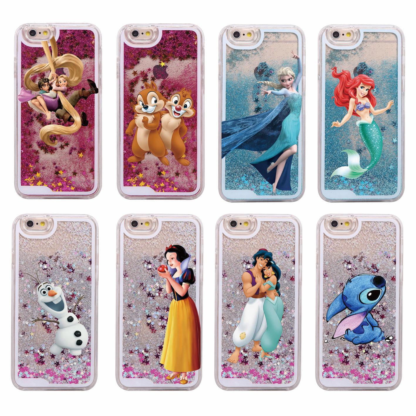 Glitter Liquid Stitch Chip Dale Elsa Mermaid Aladdin Princess Hard Case For iPhone 7 7Plus 6 6S 6Plus 5 5S SE(China (Mainland))
