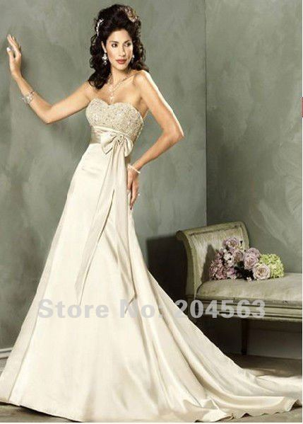 Free shipping classic elegant cream empire waist strapless for Cream colored lace wedding dresses