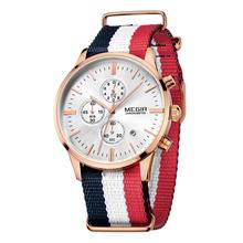 Megir marca de lujo de Nylon correa de hombre relojes cronógrafo de trabajo de mano 6 zafiro calendario impermeable militar de cuarzo reloj para hombre