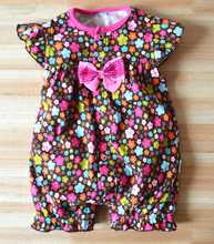 Summer Short Sleeve  Newborn Bow Cotton  Baby Rompers New Arrail Toddler Baby Clothing Free Shipping W8(China (Mainland))