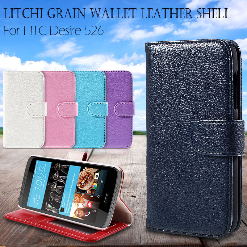 Phone Cover/Bag for HTC Desire 526 / 526G+ Dual SIM 4.7 inch Litchi Grain Wallet Leather Case for HTC Desire 526 with Stand(China (Mainland))