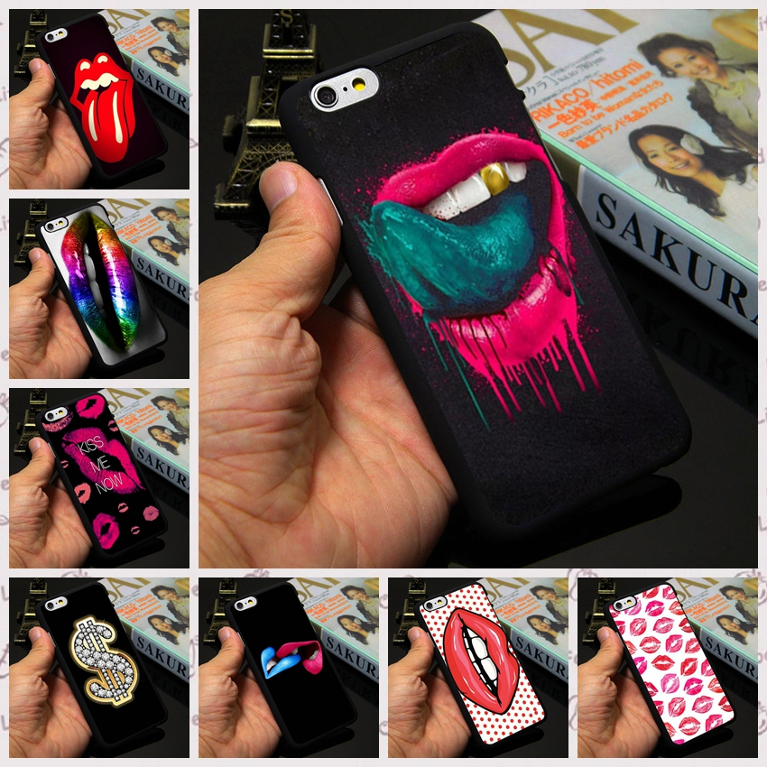 10 Custom Designs Lipstick Kiss Lips Sexy Tongue Print Case for Apple iPhone 4 4s 5 5s 5c 6 6s plus Custom Phone Cover(China (Mainland))