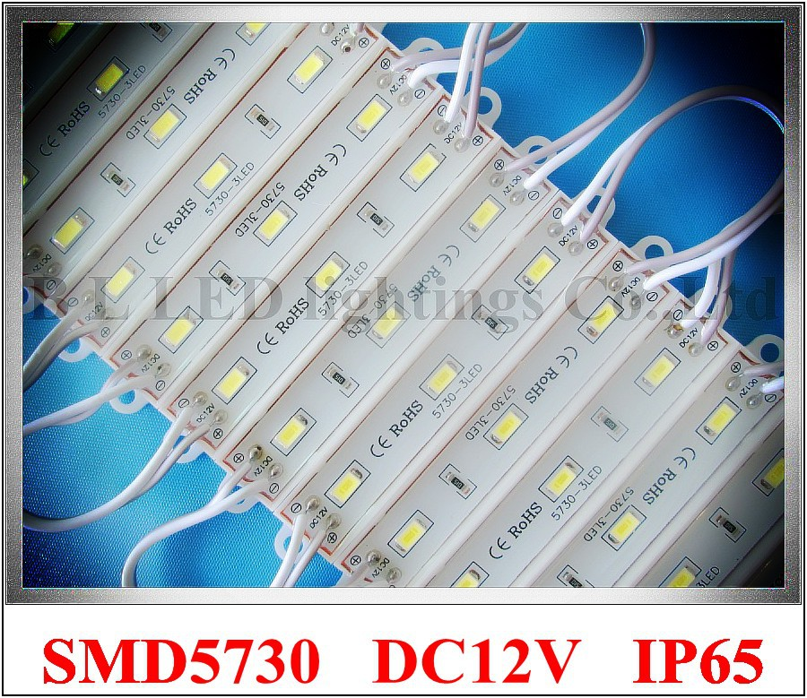 LED module SMD 5730 3led Epoxy waterproof 5730 LED module light back lighting for sign 3*SMD5730 1W 100lm IP66 75mm*12mm CE ROHS(China (Mainland))