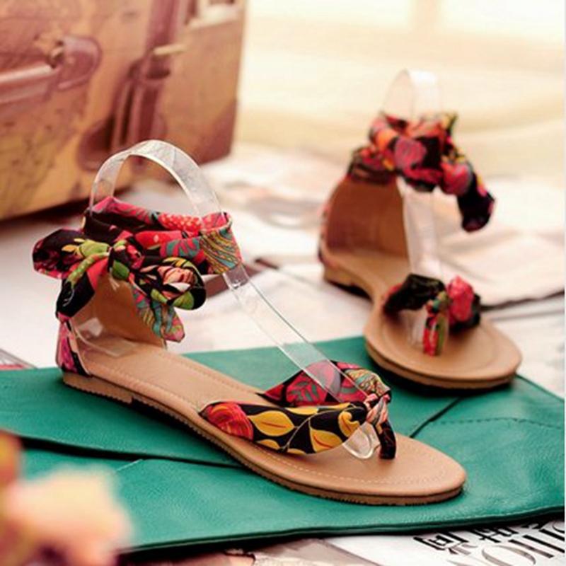 Flower Print flats 34-43 for women Summer Sandals Ribbon Sweet Ladies fashon Leisure shoes RL390(China (Mainland))