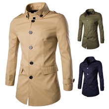 2016 spring loaded men long coat lapel coat of high quality cotton 1800-Y307 P100(China (Mainland))