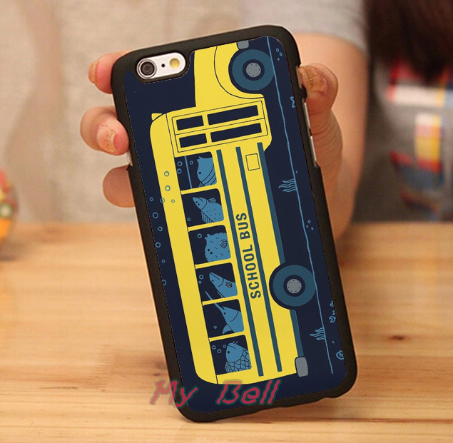 school bus of fishs luxury brand hard skin mobile phone cases phone accessories for iphone 4s 5s 5c 6 6 plus cases free gift(China (Mainland))