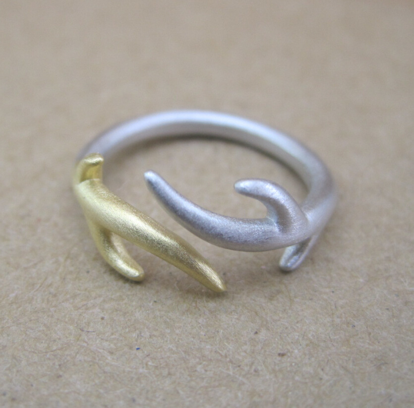 Sterling Silver Ring creative small antlers Korean Fashion jewelry Europe America [Italian design - flawless and beautifu store