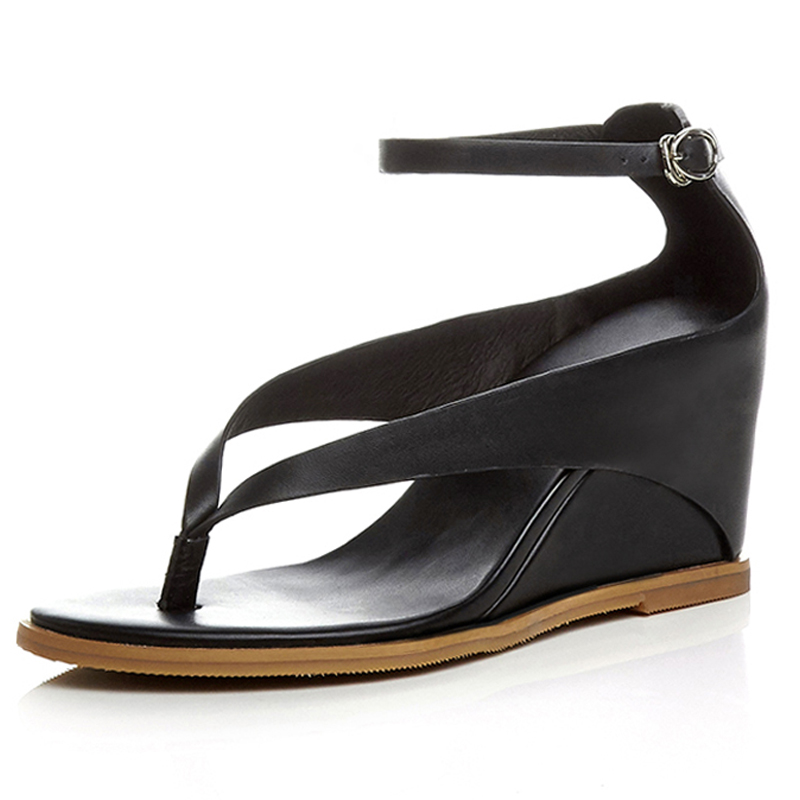Genuine Leather Wedges flip flops women Ankle strap shoes woman sandals 2016 zapatos mujer verano High heel thong sandals(China (Mainland))