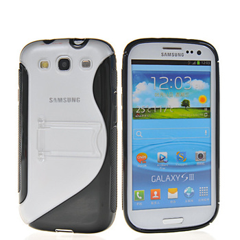 Free shipping New style Soft gel S lin TPU Stand silicone case cover for Samsung Galaxy S3 Slll I9300 cell phone case