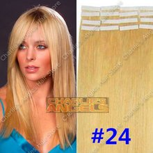 16, 18, 20, 22, 24 inch 100% Natural  Hair, Remi Hair, Tape Hair Extension #24 Blonde Color 20pcs/set 19 Colors Optional(China (Mainland))