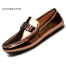 Guciheaven Fashion Luxury Brand Men Gold Casual Flats Top Quality Metal Style Genuine Leather Mirror Driving Black Loafers Shoes(China (Mainland))