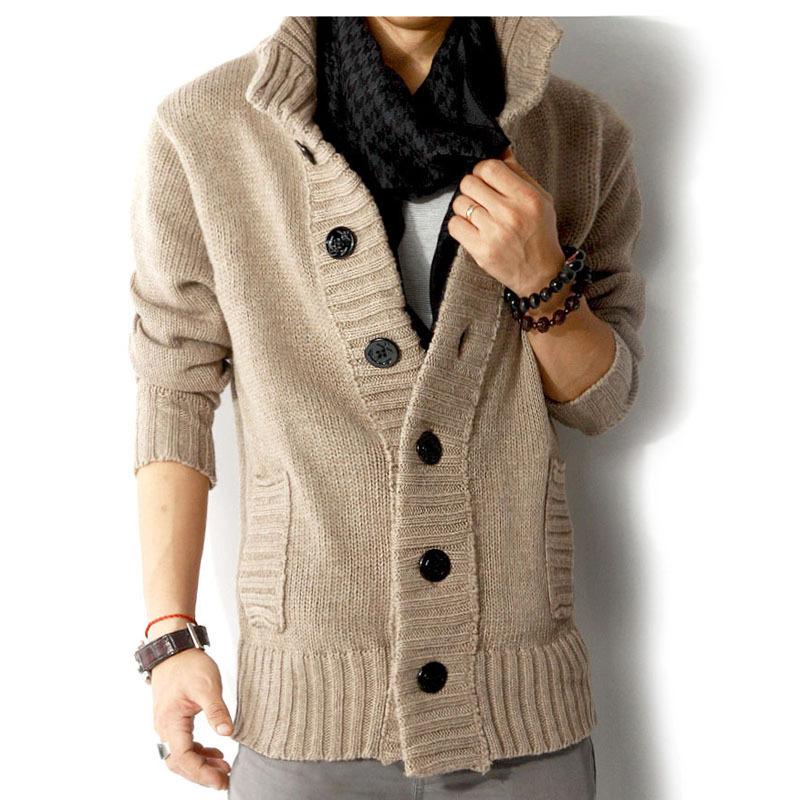 Мужские свитера осень и зима длинный рукав толстый кардиган мужчины свитер
