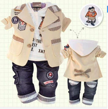 New2014 autumn winter children's clothing set cotton coat+T-shirt+pants suit baby boy kids clothes three piece sets Free shiping - To serve god store