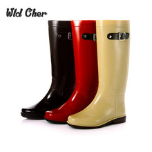 Cute British Style Bright Mirror Knee High Fashion PVC Rain Boots Water Shoes Rainboots For Woman(China (Mainland))