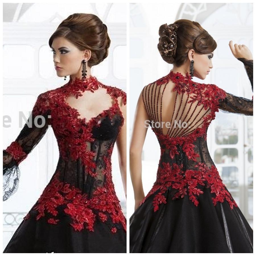 Romantique noir gothique robe de bal robes de mariée col haut à ...