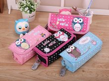 Oxford Student Leather Owl Pen Box Pencil Case Cosmetic Bags Travel Makeup Bag(China (Mainland))