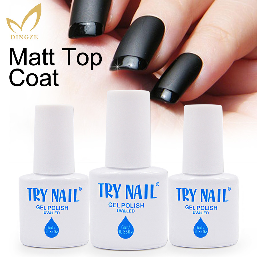 TRY NAIL Top Quality Matte Top Coat Soak Off UV Matt Top Gel Nail Polish Professional Nail Art 6ml/pcs Factory Wholesale Price(China (Mainland))