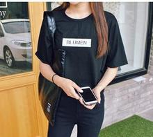 2015 Summer Women T shirt Cotton Letters Printed Funny White Black Tops For Girls Female Plus Size TZ203-797(China (Mainland))