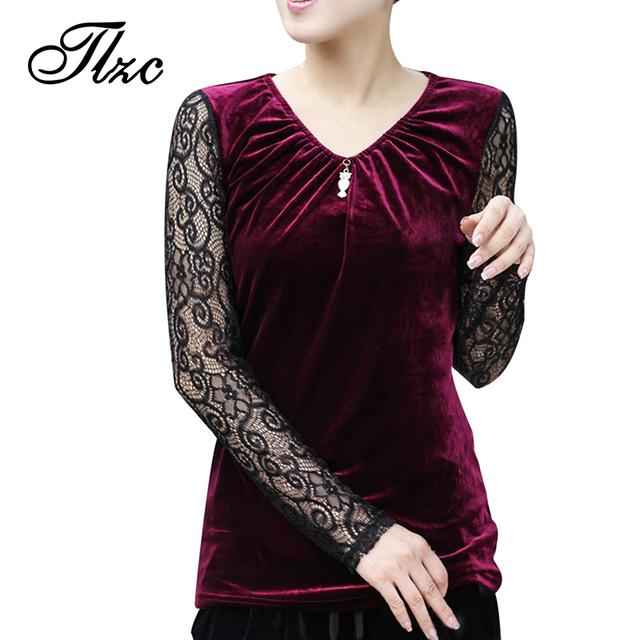 Корейский стиль шарм женщин кружева блузки осень новый бренд Большой размер L-4XL ...