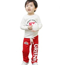 2-6Y Child Baby Boys Long Pants Trousers Casual Loose Rainbow Pattern Cotton Bottoms(China (Mainland))
