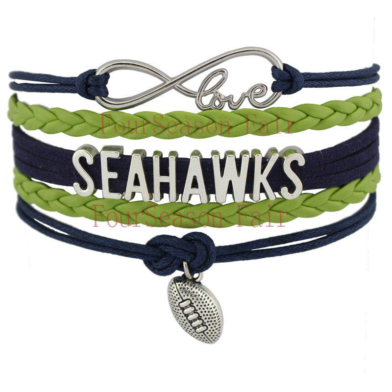 Customizable- Infinity Love National Football League Seattle Seahawks Team Bracelet Navy Green Grey Color-Drop Shipping(China (Mainland))