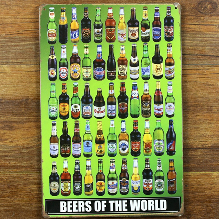NEW 2015 metal Tin signs all kinds of wine beer signs vintage decoration Wine shop bar Vintage wall metal painting bar 20X30 CM(China (Mainland))