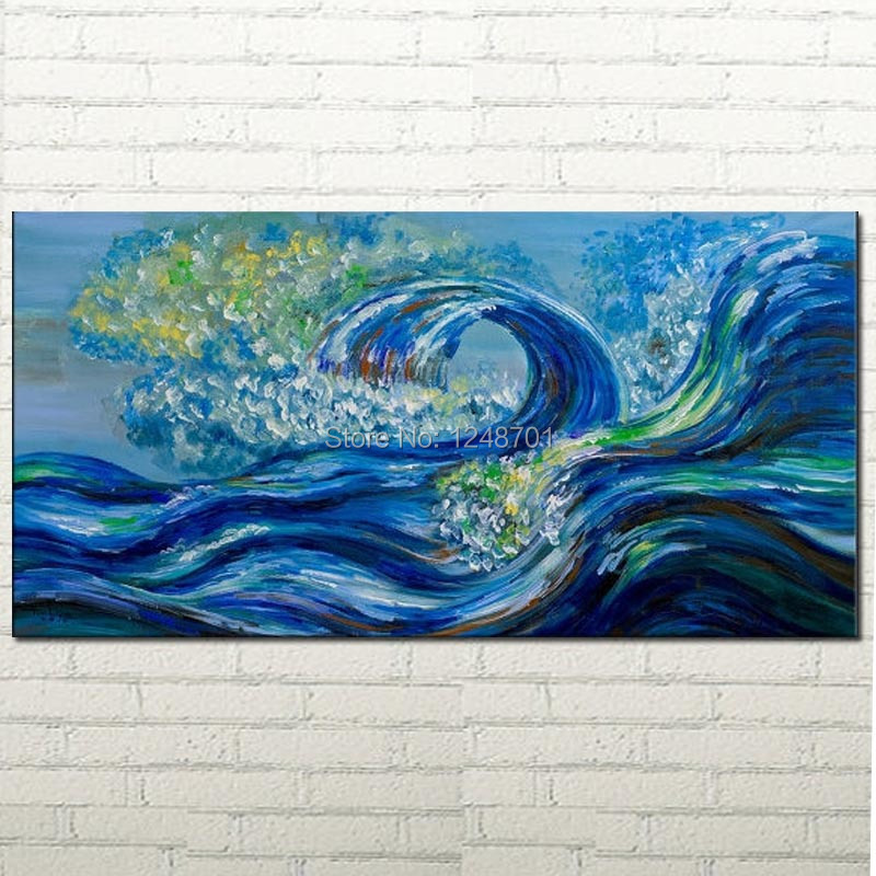 Modern wall art landscape painting seascape painting abstract painting large fine art wall decor Blue Rolling Wave(China (Mainland))