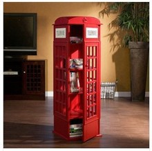 Indoor UK telephone booth book cabinet CD rack living room decoration Wood Locker home decoration(China (Mainland))