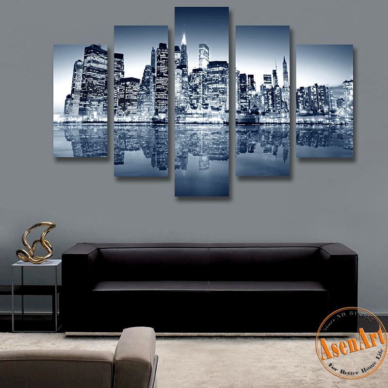 5 Panel Canvas Painting New York City HD Print Painting Modern Wall Art Picture for Living Room Home Decor Paintings No Frame(Hong Kong)