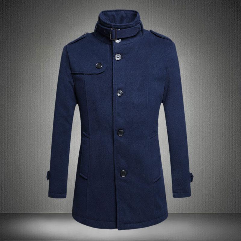 2015 New Arrival Fashion Brand Jacket Mens Long Trench Coat Homme Winter Jacket Men Slim Warm Coat Long Section Windbreaker