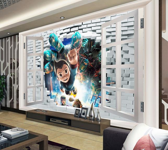 papel de parede HD window cartoom 3d mural for Interior decoration children's room 3d wallpaper free shipping(China (Mainland))