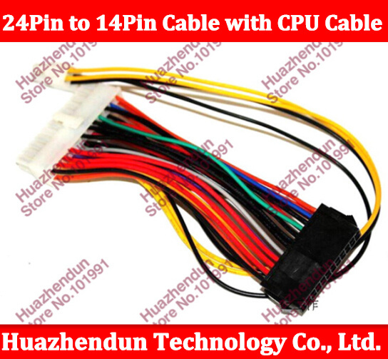 2pcs 24Pin to 14Pin ATX DIY Power Cable Cord with 4PIN CPU EXTENSION CABLE For o Q77 B75 A75 Q75 PC Desktop Motherboard(China (Mainland))