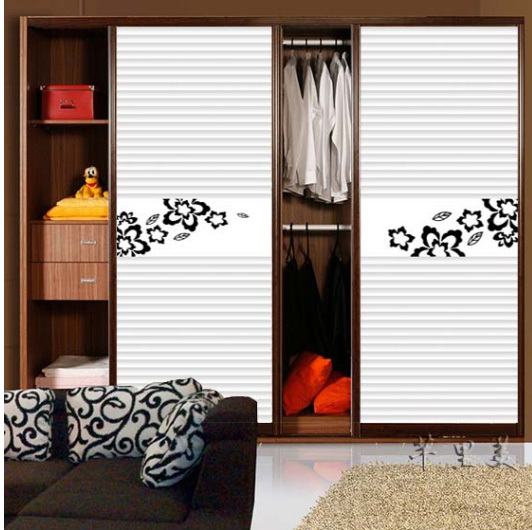Simple pattern leaf Custom cabinet Stickers closet shutter door PVC Removable Home Decor Furniture stickers CWPEU075(China (Mainland))