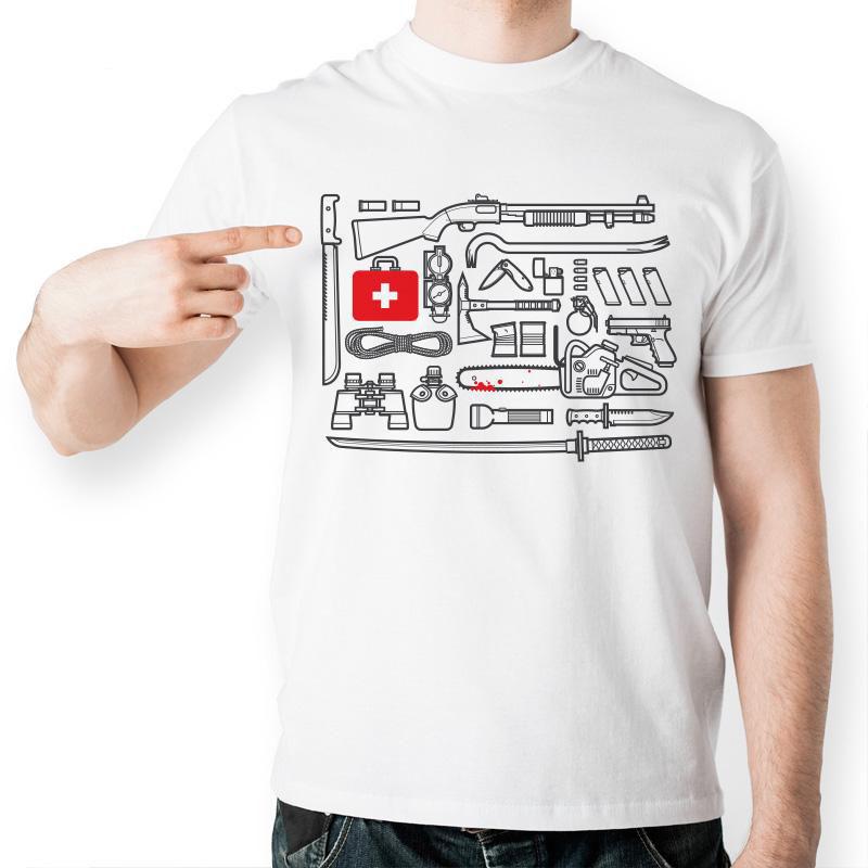 Popular American Drama The Walking Dead T Shirt Funny Tool Kit Set Printed Tshirt Fashion Men Short Sleeve T shirt(China (Mainland))