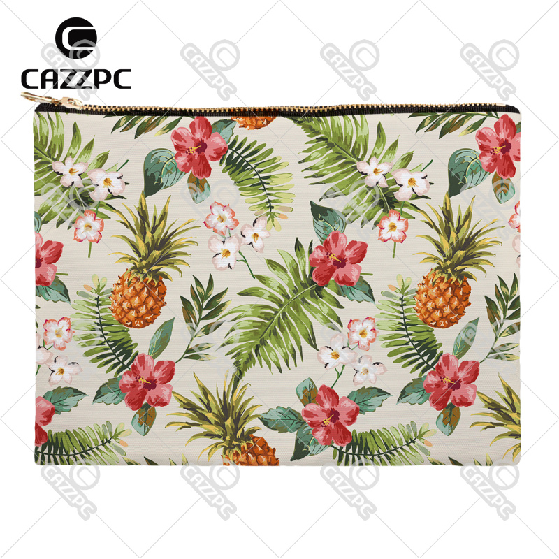 Seamless Tropical Floral Pineapple Plant Leaves Canvas Pattern Print Cosmetic Bag Makeup Pouch Wristlet Hand Bag(China (Mainland))