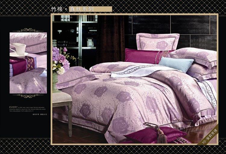 luxury Hotel Bamboo fiber Jacquard girls comforter sets Wedding purple bedding set queen King size White Pink duvet cover set(China (Mainland))