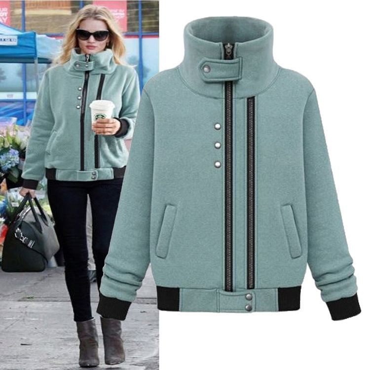 Autumn Winter Stand Up Collar Thickening Cotton Blends Abrigos Chaquetas Mujer Two Zips Warm Jacket Casual Women Coat C618(China (Mainland))