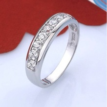 Wholesale New 2015 S925 Sterling Silver Zircon Simulated Diamond Rings Wedding Band Ring for Women Joias Size 5-11 Ulove J294