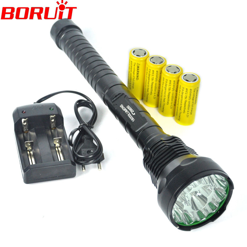 Ultrabright 15T6 Max 16000LM 15xCree XM-L T6 5-Mode LED Flashlight Torch(4x26650/4x18650),Hunting LED Torch +Battery/Charger<br><br>Aliexpress